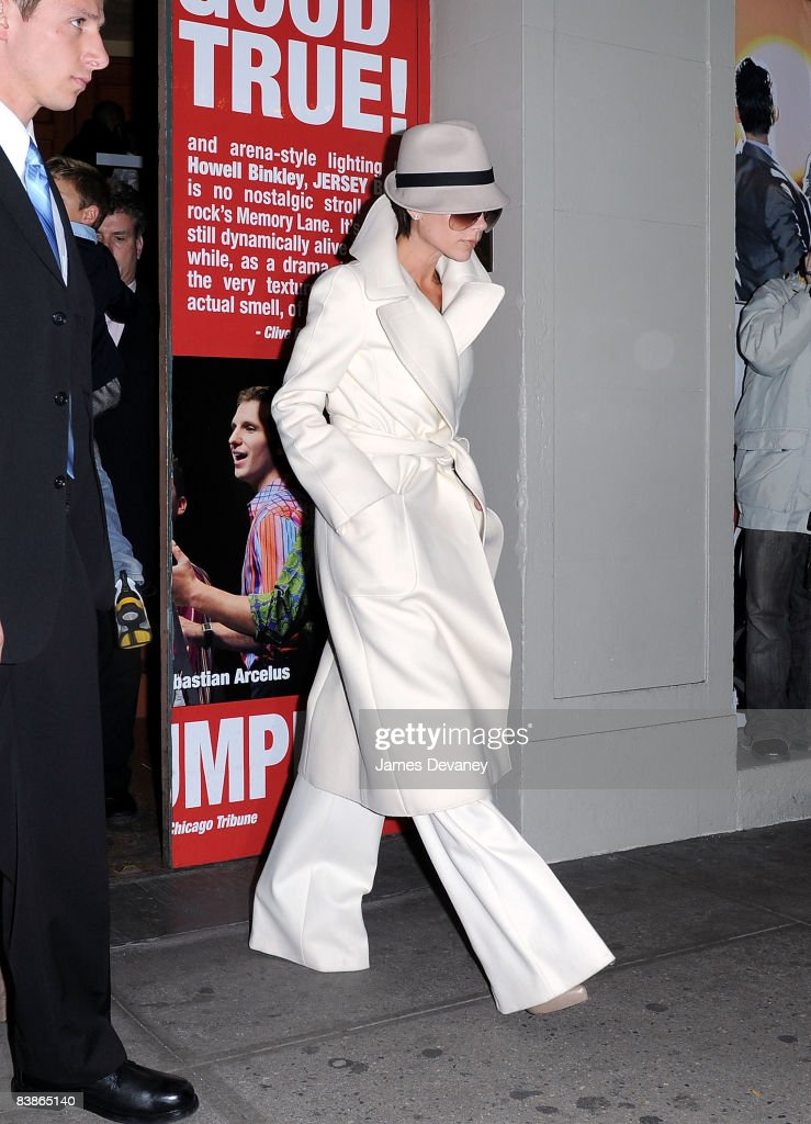 Victoria Beckham leaves 'Jersey Boys' play on Broadway on November 28, 2008 in New York City.