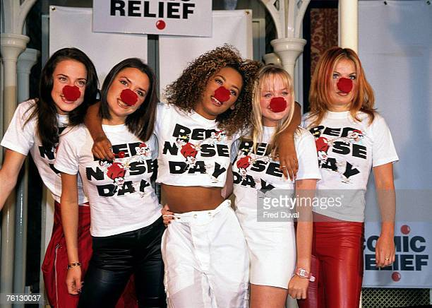 Victoria Beckham Mel C Emma Bunton geri Halliwell and Mel B from The Spice Girls Comic Relief Red Nose Day London February 1 1997