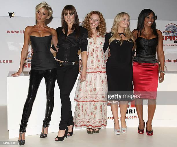 Victoria Beckham Melanie C Geri Halliwell Emma Bunton and Mel B of Spice Girls attending news conference to make a 'Big Announcement' With Regards To...