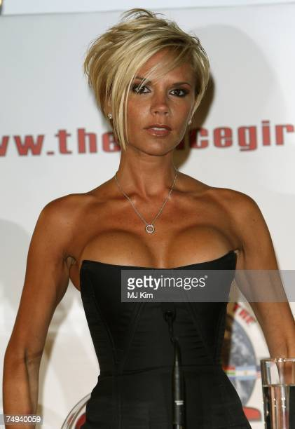 Victoria Beckham of Spice Girls attending news conference to make a 'Big Announcement' With Regards To A World Tour And Album at O2 Arena on June 28...