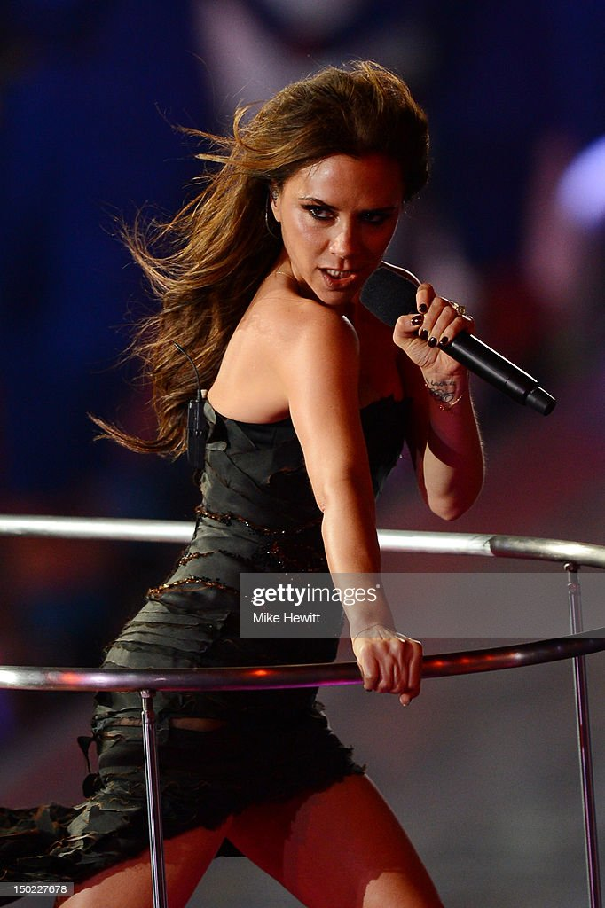 Victoria Beckham of the Spice Girls performs during the Closing Ceremony on Day 16 of the London 2012 Olympic Games at Olympic Stadium on August 12, 2012 in London, England.