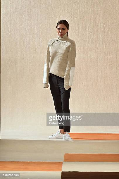 Victoria Beckham on the runway at the Victoria Beckham Autumn Winter 2016 fashion show during New York Fashion Week on February 14 2016 in New York...