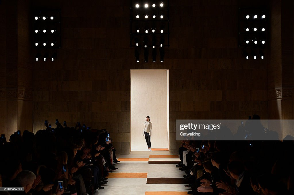 Victoria Beckham on the runway at the Victoria Beckham Autumn Winter 2016 fashion show during New York Fashion Week on February 14, 2016 in New York, United States.