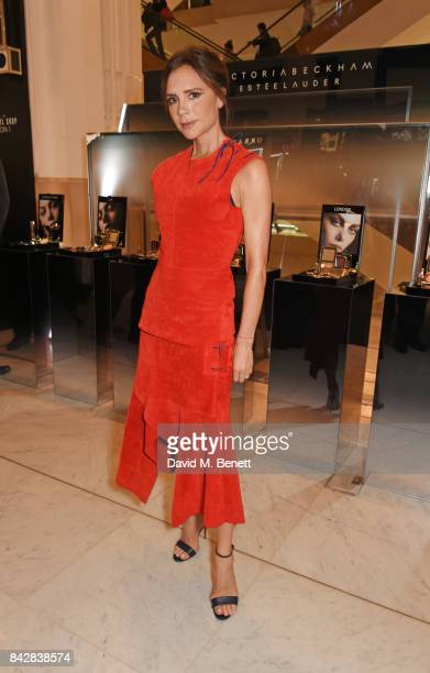 Victoria Beckham poses at the Victoria Beckham Estee Lauder Autumn Winter 17 launch at Selfridges on September 5 2017 in London England