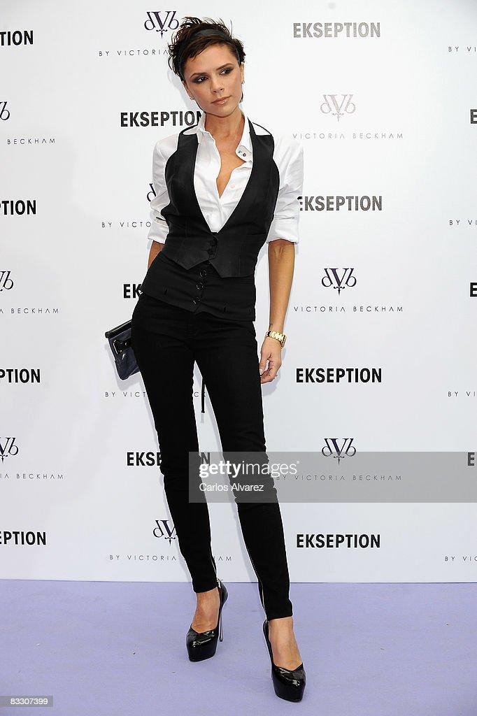 Victoria Beckham presents her new denim collection 'dVb By Victoria Beckham' at Ekseption boutique on October 16, 2008 in Madrid, Spain.