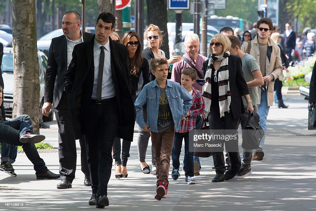 Victoria Beckham, Romeo James Beckham, Cruz David Beckham, Tony Adams, Jackie Adams and Brooklyn Joseph Beckham are seen arriving at the 'Matignon' restaurant on April 21, 2013 in Paris, France.