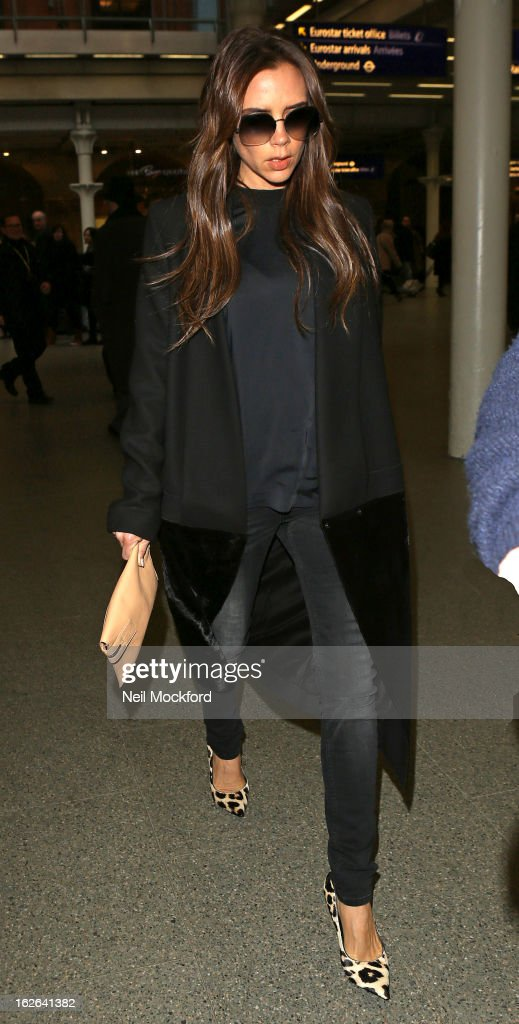<a gi-track='captionPersonalityLinkClicked' href=/galleries/search?phrase=Victoria+Beckham&family=editorial&specificpeople=161100 ng-click='$event.stopPropagation()'>Victoria Beckham</a> seen arriving at King's Cross St Pancras Eurostar terminal on February 25, 2013 in London, England.