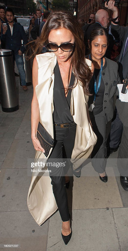 <a gi-track='captionPersonalityLinkClicked' href=/galleries/search?phrase=Victoria+Beckham&family=editorial&specificpeople=161100 ng-click='$event.stopPropagation()'>Victoria Beckham</a> sighted arriving at St Pancras Station, Kings Cross on September 27, 2013 in London, England.