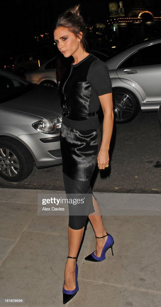 <a gi-track='captionPersonalityLinkClicked' href=/galleries/search?phrase=Victoria+Beckham&family=editorial&specificpeople=161100 ng-click='$event.stopPropagation()'>Victoria Beckham</a> sighting arriving at the WE hotel for the international woolmark prize final on February 16, 2013 in London, England.