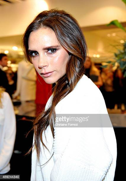 Victoria Beckham visits her boutique in Selfridges on November 19 2014 in Manchester England