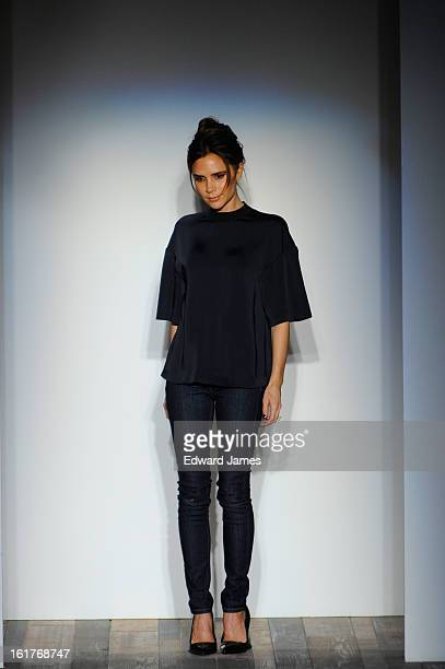 Victoria Beckham walks the runway at the Victoria Beckham fashion show during Fall 2013 MercedesBenz Fashion Week on February 10 2013 in New York City