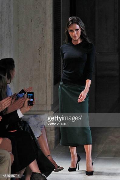 Victoria Beckham walks the runway at the Victoria Beckham fashion show during MercedesBenz Fashion Week Spring 2015 at The Cunard Building on...