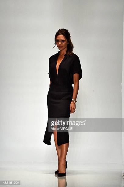 Victoria Beckham walks the runway at the Victoria Beckham Spring Summer 2016 fashion show during the New York Fashion Week on September 13 2015 in...