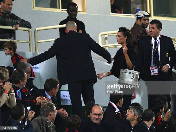 Victoria Beckham wife of David Beckham of AC Milan arrives at the ground during the Dubai Football Challenge match between AC Milan and Hamburger SV...