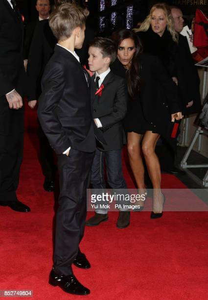 Victoria Beckham with her children Romeo and Cruz arriving for the World premiere of documentary film The Class of 92 detailing the rise to...