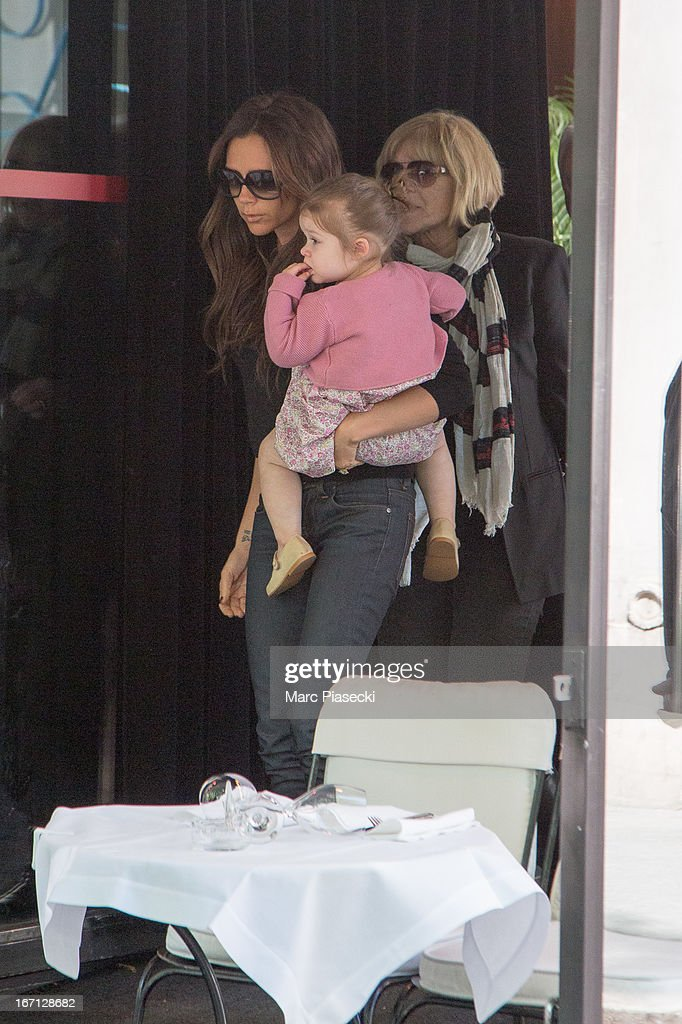 <a gi-track='captionPersonalityLinkClicked' href=/galleries/search?phrase=Victoria+Beckham&family=editorial&specificpeople=161100 ng-click='$event.stopPropagation()'>Victoria Beckham</a> with her daughter Harper Seven Beckham and mother Jackie Adams are seen leaving the 'Matignon' restaurant on April 21, 2013 in Paris, France.
