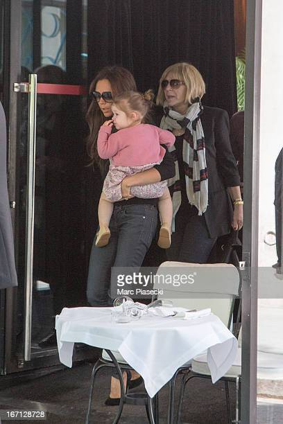 Victoria Beckham with her daughter Harper Seven Beckham and mother Jackie Adams are seen leaving the 'Matignon' restaurant on April 21 2013 in Paris...