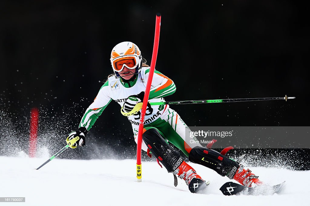 Victoria Bell of Ireland skis in the Women's Slalom during the Alpine FIS Ski World Championships on February 16, 2013 in Schladming, Austria.