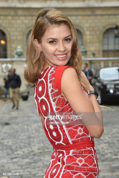 Victoria Bonya arrives at Zuhair Murad show as part of Paris Fashion Week Haute Couture Fall/Winter 20142015 on July 10 2014 in Paris France