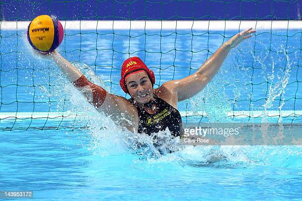 Victoria Brown of Australia makes a save during the Visa Water Polo International test event match between USA and Australia ahead of the London 2012...