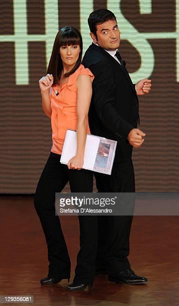 Victoria Cabello and Max Giusti attend 'Quelli Che Il Calcio' Italian TV Show on October 16 2011 in Milan Italy
