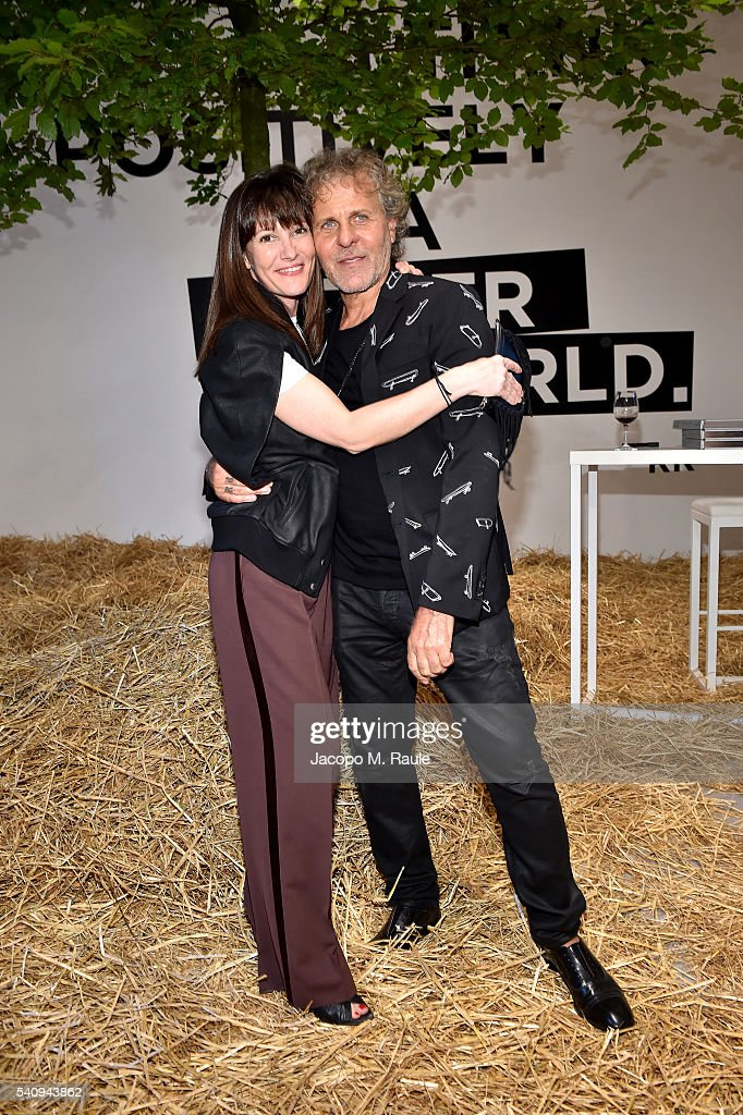 Victoria Cabello and Renzo Rosso attend Renzo Rosso And OTB Launch 'Radical Renaissance 555' Book on June 17 2016 in Milan Italy