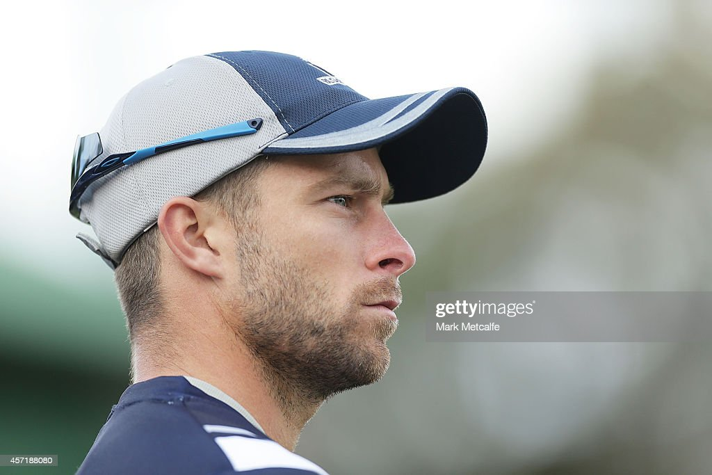 Victoria captain <a gi-track='captionPersonalityLinkClicked' href=/galleries/search?phrase=Matthew+Wade&family=editorial&specificpeople=724041 ng-click='$event.stopPropagation()'>Matthew Wade</a> looks on during the Matador BBQs Cup match between Queensland and Victoria at North Sydney Oval on October 14, 2014 in Sydney, Australia.