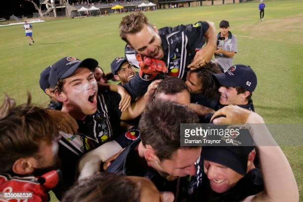 Victoria celebrate winning the National Indigenous Cricket Championships Final against New South Wales on February 13 2017 in Alice Springs Australia