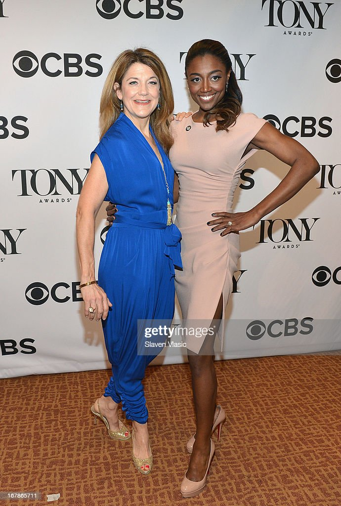 Victoria Clark (L) and Patina Miller attend 2013 Tony Awards: The Meet The Nominees Press Junket at the Millenium Hilton on May 1, 2013 in New York City.