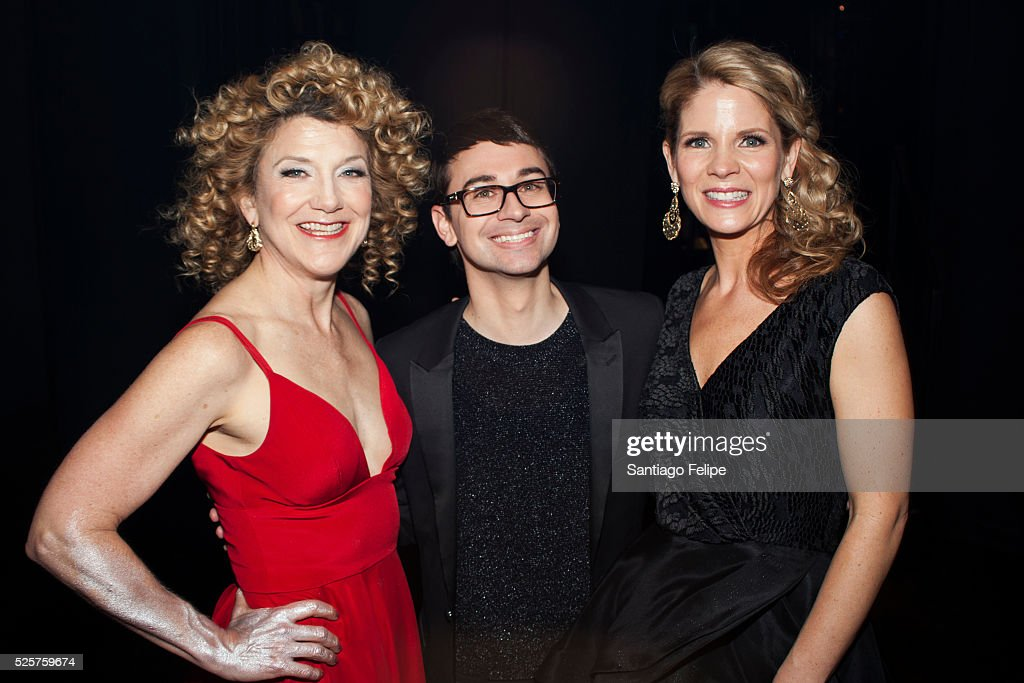 Victoria Clark Christian Siriano and Kelli O'Hara attend Master Voices 2016 Spring Benefit and Concert at New York City Center on April 28 2016 in...