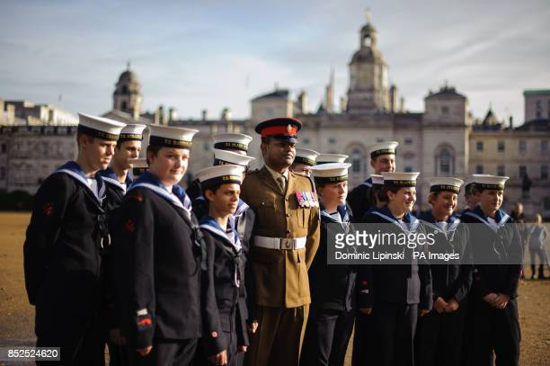 Victoria Cross recipient Lance Corporal Johnson Beharry with Sea Cadets as they rehearse at Horse Guards Parade in Westminster central London ahead...