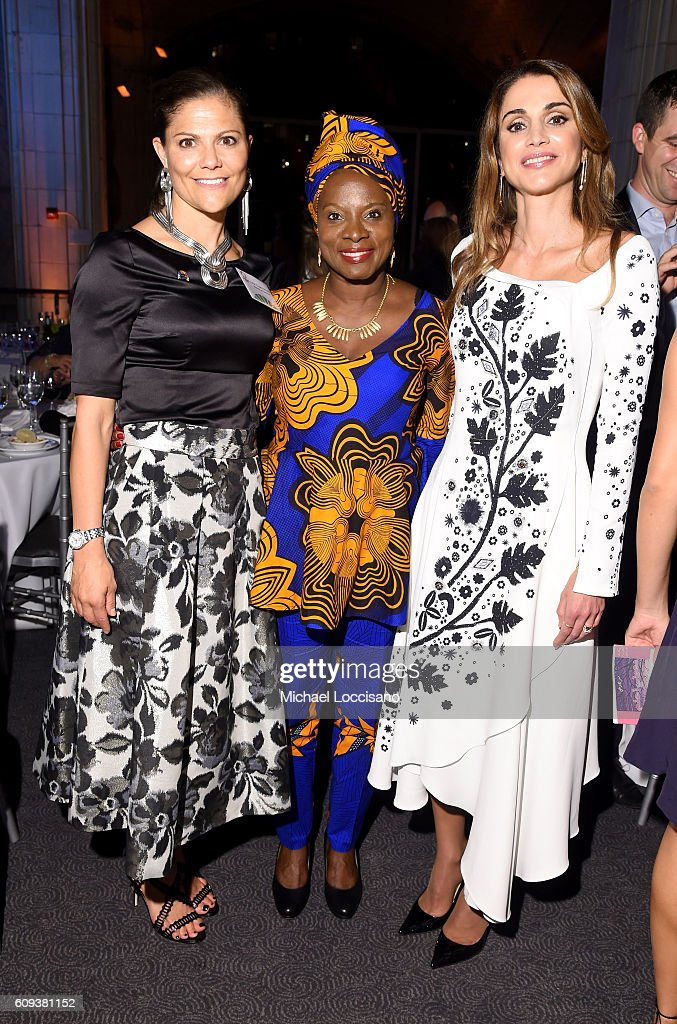 Victoria, Crown Princess of Sweden, Angelique Kidjo and Queen Rania of Jordan attend 2016 Global Goals Awards Dinner at Gustavino's on September 20, 2016 in New York City.