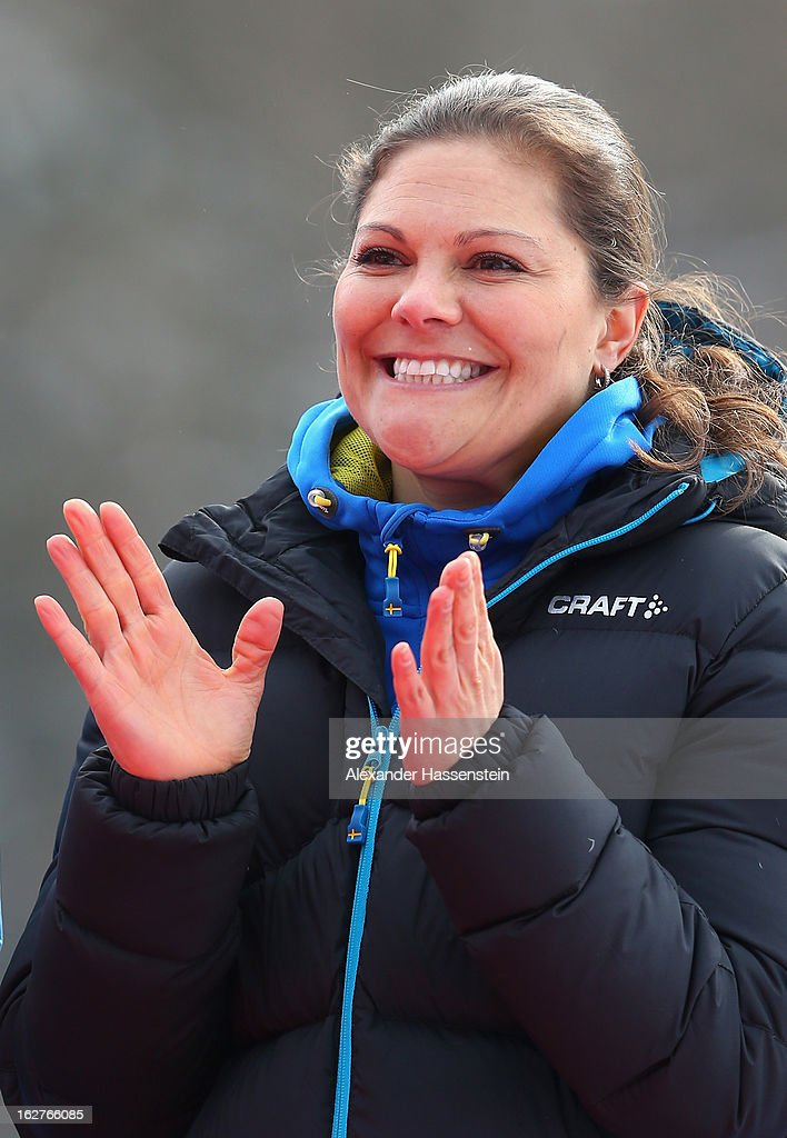 Victoria, Crown Princess of Sweden applauds following the Women's Cross Country Individual 10km at the FIS Nordic World Ski Championships on February 26, 2013 in Val di Fiemme, Italy.