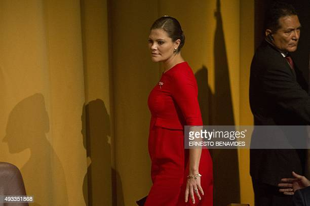 Victoria Crown Princess of Sweden attends a seminar at the Universidad de Lima in Lima on October 19 2015 Princess Victoria will lead a delegation of...