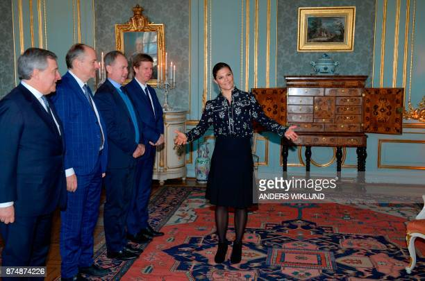 Victoria Crown Princess of Sweden welcomes European Parliament President Antonio Tajani and members of his delegation at Stockholm Royal Palace...