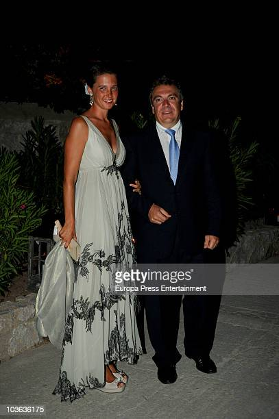 Victoria de BorbonDos Sicilias and Markos Nomikos attend the wedding banquet for Prince Nikolaos of Greece and Tatiana Blatnik on August 25 2010 in...
