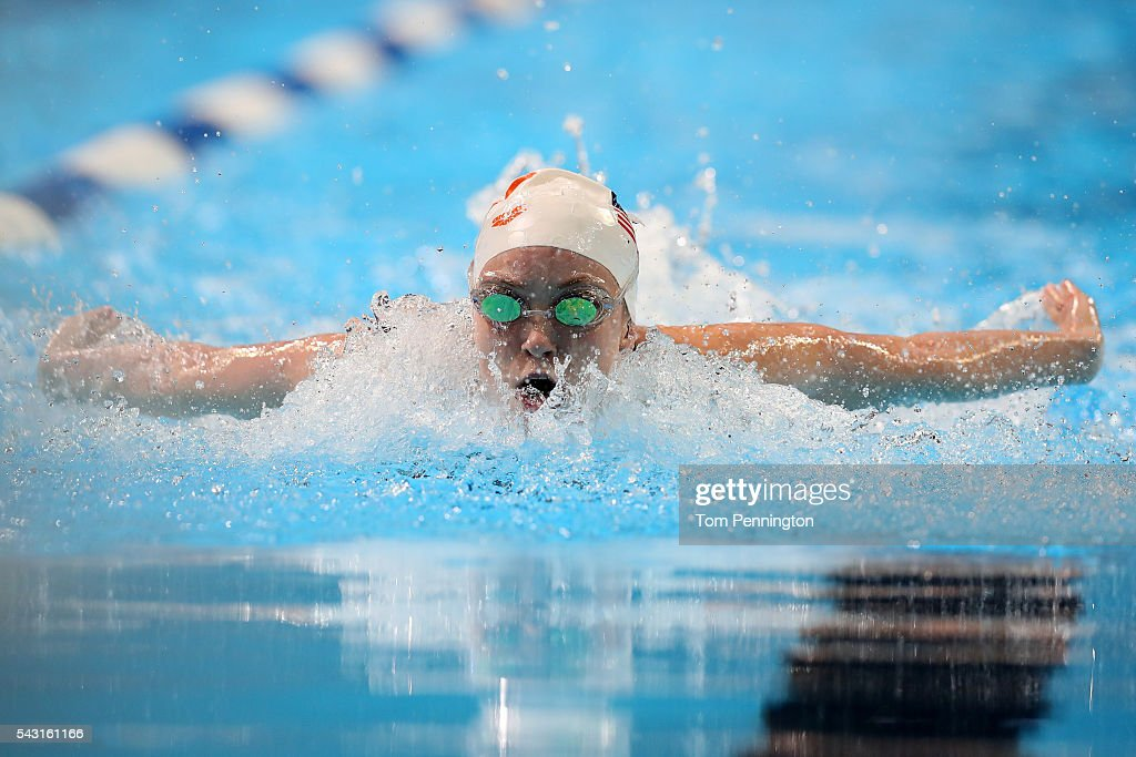 Victoria Edwards of the United States competes in a preliminary heat for the Women's 100 Meter Butterfly during Day One of the 2016 U.S. Olympic Team Swimming Trials at CenturyLink Center on June 26, 2016 in Omaha, Nebraska.