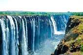 Victoria Falls, waterfall in southern Africa on the Zambezi River at the border of Zambia and Zimbabwe