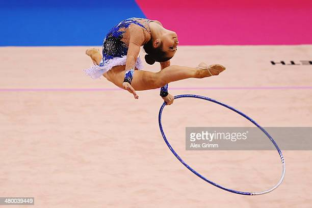Victoria Filanovski of Israel performs with the hoop during the individual competition of the GAZPROM World Cup Rhythmic Gymnastics at Porsche Arena...