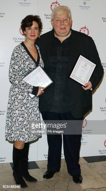 Victoria Hamilton receives the Best Actress Award for Suddenly Last Summer and Richard Griffiths with his Best Actor Award for The History Boys