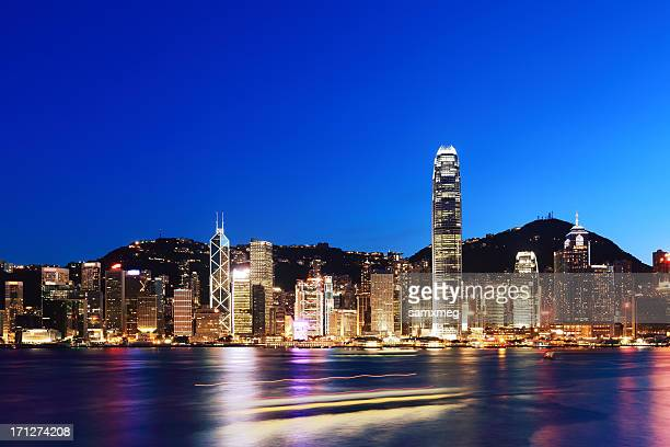 Victoria Harbor and Hong Kong at night
