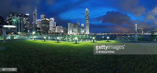 HK victoria harbour city buildings panoramic night