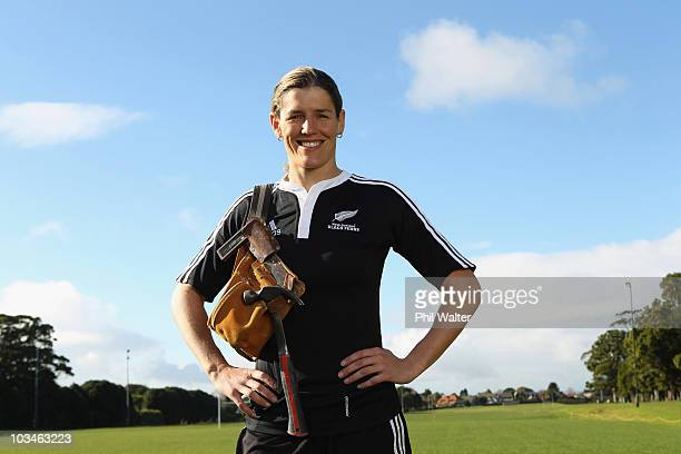 Victoria Heighway of the New Zealand Black Ferns poses with her builders tool belt during a portrait session at the Grammar Carlton Rugby Club on...