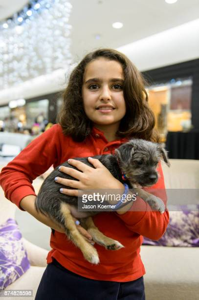 Victoria Hoffman holds a puppy up for adoption at Walk In Style For The Animals at 10022 Shoe at Saks Fifth Avenue Bal Harbour on November 15 2017 in...