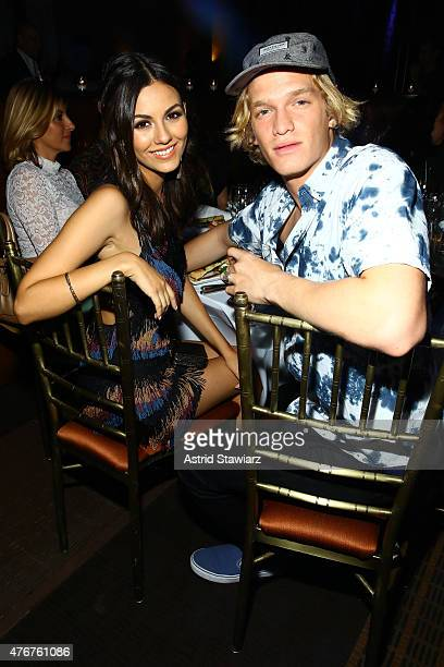 Victoria Justice and Cody Simpson attend the DoSomethingorg Spring Dinner 2015 at Capitale on June 11 2015 in New York City