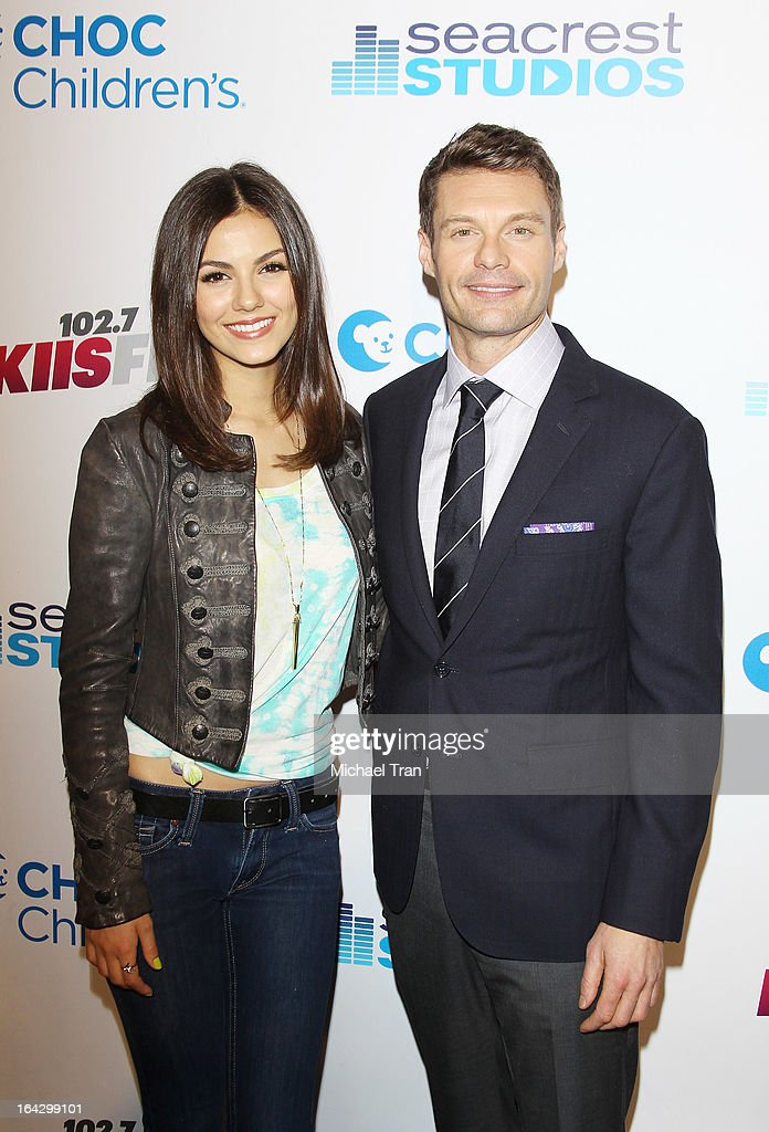 Victoria Justice (L) and Ryan Seacrest attend The Ryan Seacrest Foundation West Coast debut of new multi-media broadcast center 'Seacrest Studios' held at CHOC Children's Hospital on March 22, 2013 in Orange, California.