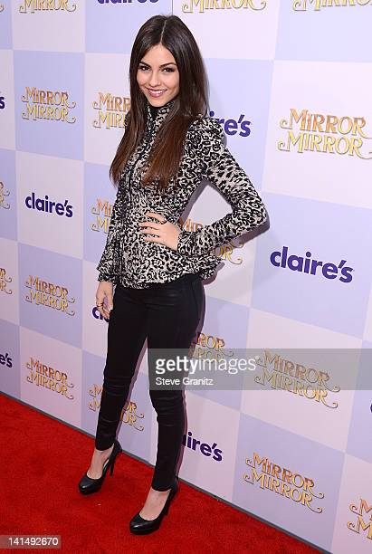 Victoria Justice arrives at the 'Mirror Mirror' Los Angeles Premiere at Grauman's Chinese Theatre on March 17 2012 in Hollywood California