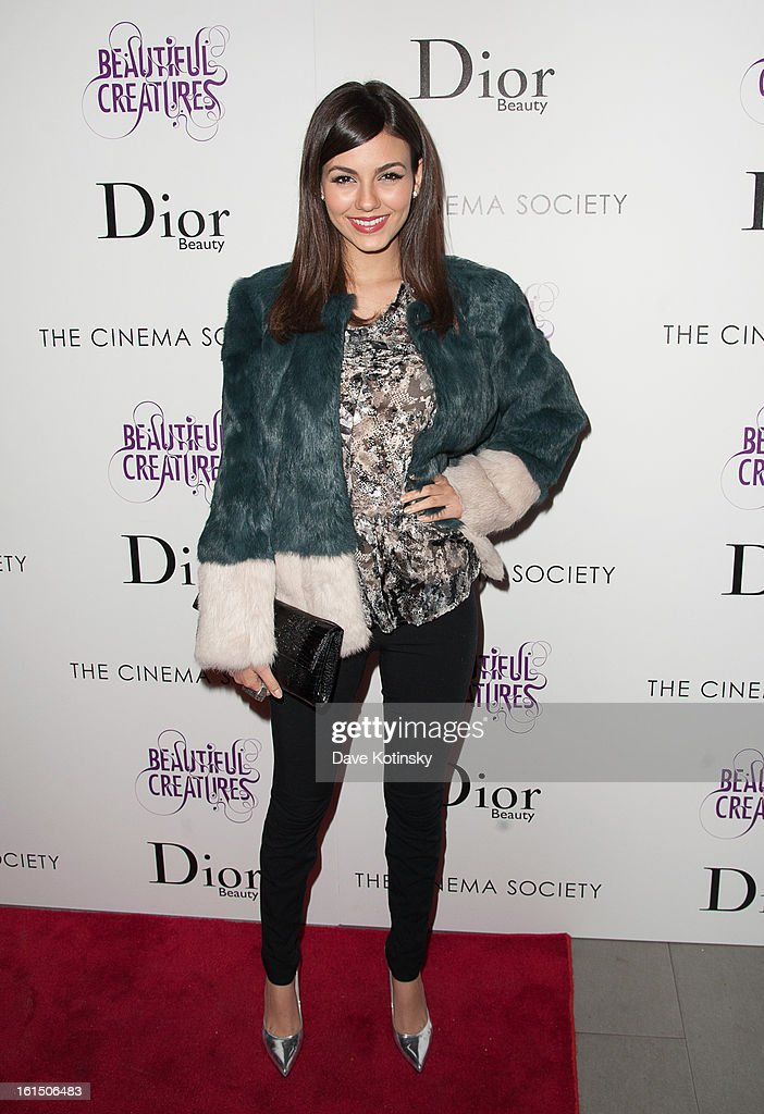 <a gi-track='captionPersonalityLinkClicked' href=/galleries/search?phrase=Victoria+Justice&family=editorial&specificpeople=569887 ng-click='$event.stopPropagation()'>Victoria Justice</a> attends The Cinema Society And Dior Beauty Presents A Screening Of 'Beautiful Creatures' at Tribeca Cinemas on February 11, 2013 in New York City.