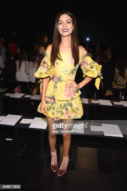 Victoria Justice attends the Marchesa fashion show during New York Fashion Week at Gallery 1 Skylight Clarkson Sq on September 13 2017 in New York...