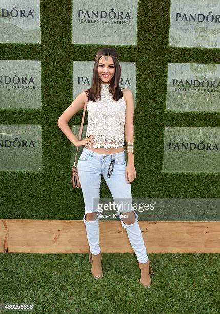 Victoria Justice attends the Siwy Denim fashion show at the PANDORA Jewelry Experience #ArtofYou on April 10 2015 in Palm Springs California